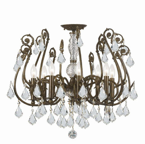 Crystorama 5118-EB-CL-S 8-Lights Clear Swarovski Elements Crystal Wrought Iron Semi-Flush - English Bronze - PeazzLighting