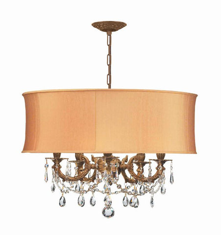 Crystorama Ornate Casted Aged Brass Chandelier with Clear Swarovski Spectra Crystal and a Harvest Gold Shade 5 Lights - Aged Brass - 5535-AG-SHG-CLQ - PeazzLighting