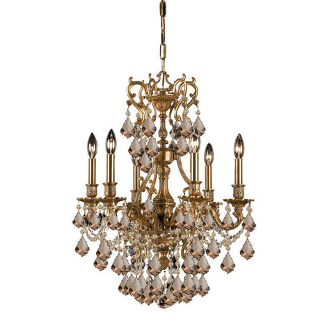 Crystorama Ornate Aged Brass Chandelier Accented with Golden Teak Hand Cut Crystal 6 Lights - Aged Brass - 5146-AG-GT-MWP - PeazzLighting