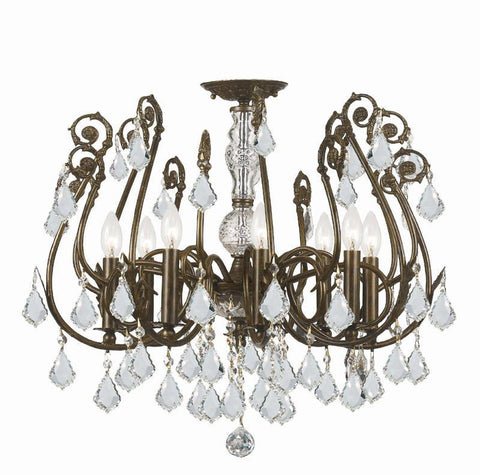 Crystorama 5118-EB-CL-SAQ 8-Lights Clear Swarovski Spectra Crystal Wrought Iron Semi-Flush - English Bronze - PeazzLighting