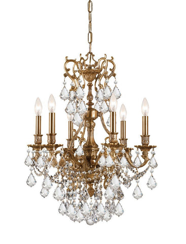 Crystorama Ornate Aged Brass Chandelier Accented with Swarovski Spectra Crystal 6 Lights - Aged Brass - 5146-AG-CL-SAQ - PeazzLighting