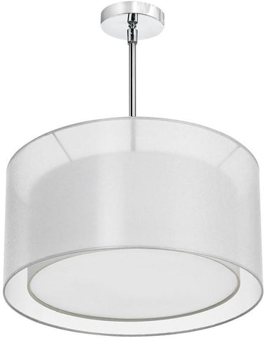 Dainolite 3 Lite Polished Chrome Pendant With Double Shade White & White With 790 Diffuser MEL228-819-790-PC - PeazzLighting