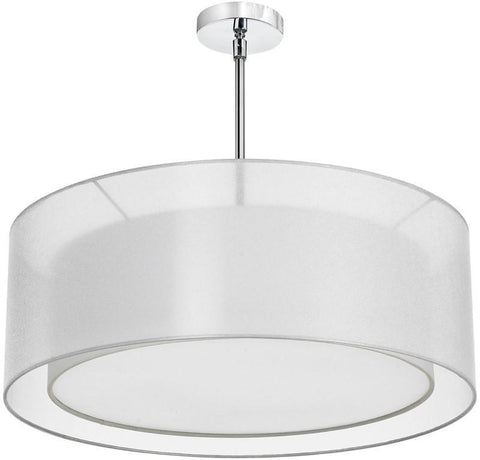 Dainolite 4 Lite Polished Chrome Pendant With Double Shade White & White With 790 Diffuser MEL307-819-790-PC - PeazzLighting