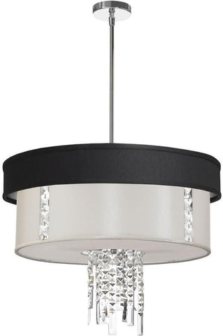 Dainolite 3 Lite  Polished Chrome Crystal Pendant With Black/Silver & White Shade With 790 Diffuser RITA-24-3-PC-694-790 - PeazzLighting