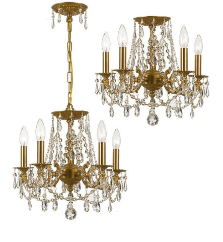 Crystorama Clear Swarovski Spectra Wrought Iron Chandelier 5 Lights - Aged Brass - 5545-AG-CL-SAQ - PeazzLighting