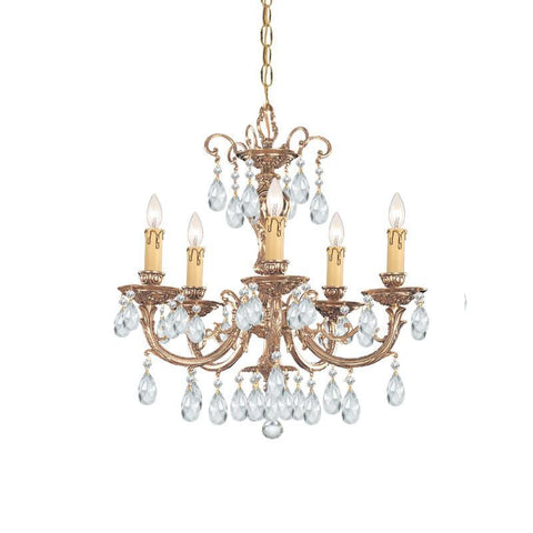 Crystorama Ornate Cast Brass Chandelier Accented with Swarovski Spectra Crystal 5 Lights - Olde Brass - 495-OB-CL-SAQ - PeazzLighting