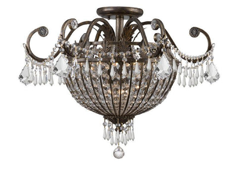 Crystorama 5167-EB-CL-MWP 9-Lights Wrought Iron Hand Cut Lead Crystal Chandelier - English Bronze - PeazzLighting