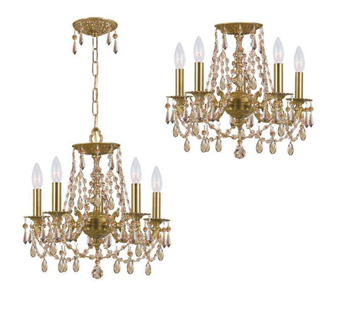 Crystorama Golden Teak Hand Cut Wrought Iron Chandelier 5 Lights - Aged Brass - 5545-AG-GT-MWP - PeazzLighting