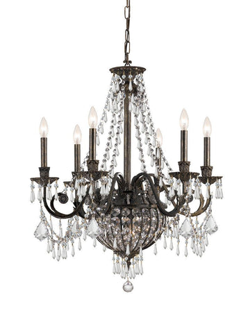 Crystorama Wrought Iron Hand Cut Lead Crystal Chandelier 6 Lights - English Bronze - 5166-EB-CL-MWP - PeazzLighting