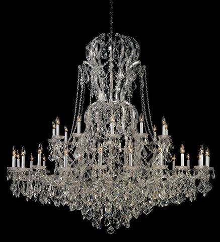 Crystorama Maria Theresa Chandelier Draped in Swarovski Spectra Crystal 36 Lights - Polished Chrome - 4460-CH-CL-SAQ - PeazzLighting