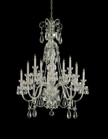 Crystorama Swarovski Spectra Crystal Chandelier 5 Lights - Polished Brass - 5020-PB-CL-SAQ - PeazzLighting