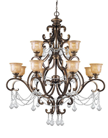 Crystorama Clear Hand cut Crystal Draped on a Wrought Iron Chandelier Handpainted with a Amber Glass Pattern 12 Lights - Bronze Umber - 7512-BU-CL-MWP - PeazzLighting