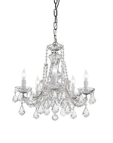 Crystorama Maria Theresa Chandelier Draped in Swarovski Spectra Crystal 5 Lights - Polished Chrome - 4476-CH-CL-SAQ - PeazzLighting