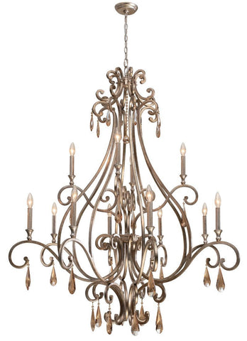 Crystorama Chandelier with the transitional finish, Distressed Twilight, and Golden Shadow hand cut crystals. 12 Lights - Distressed Twilight - 7520-DT - PeazzLighting