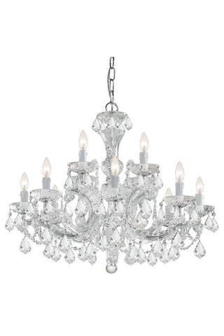 Crystorama Maria Theresa Chandelier Draped in Swarovski Spectra Crystal 8 Lights - Polished Chrome - 4479-CH-CL-SAQ - PeazzLighting