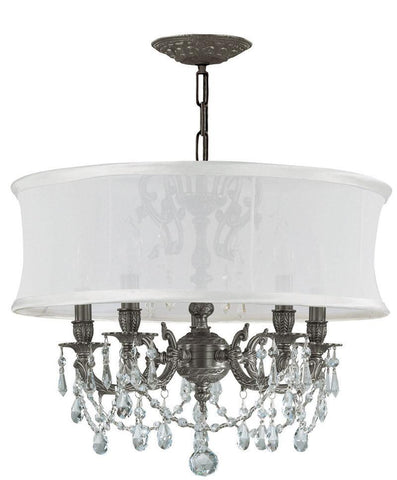 Crystorama Ornate Pewter chandelier with Majestic Wood Polish Crystal Chandelier with a Smooth Antique White Silk Shade 5 Lights - Pewter - 5535-PW-SMW-CLM - PeazzLighting