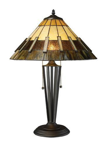 Dimond D1860 Porterdale 2 Light Table Lamp In Tiffany Bronze With Tiffany Glass Shade - PeazzLighting