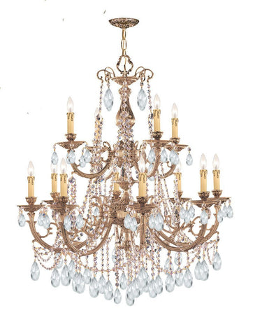 Crystorama Ornate Cast Brass Chandelier Accented with Swarovski Elements Crystal 8 Lights - Olde Brass - 479-OB-CL-S - PeazzLighting