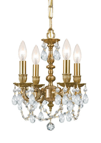 Crystorama Cast Brass Mini Chandelier Accented with Clear Swarovski Elements Crystal 4 Lights - Aged Brass - 5504-AG-CL-S - PeazzLighting