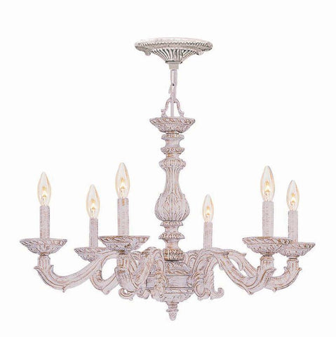 Crystorama Sutton Collection Wrought Iron Chandelier 6 Lights - Antique White - 5126-AW - PeazzLighting