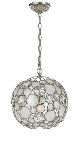 Crystorama Antique Silver Leaf Wrought Iron Chandelier 1 Lights - Antique Sliver - 527-SA - PeazzLighting