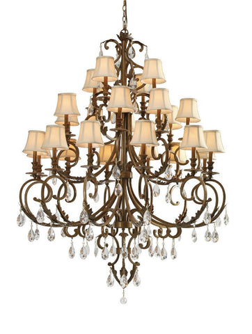 Crystorama Hand Cut Crystal Wrought Iron Chandelier 12 Lights - Florentine Bronze - 6907-FB-CL-MWP - PeazzLighting