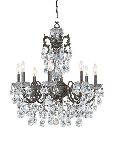 Crystorama Ornate Chandelier Accented with Hand Cut Crystal 8 Lights - English Bronze - 5198-EB-CL-MWP - PeazzLighting