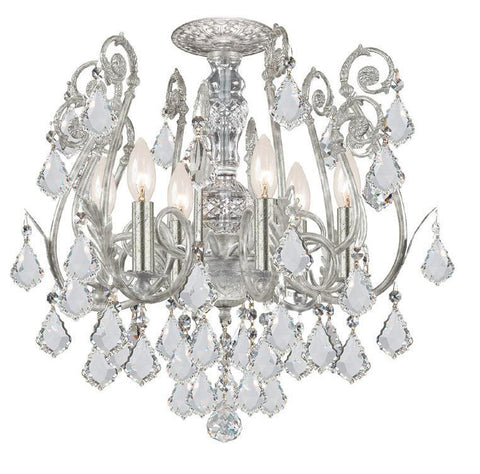 Crystorama 5115-OS-CL-SAQ 6-Lights Clear Swarovski Spectra Crystal Wrought Iron Semi-Flush - Olde Silver - PeazzLighting