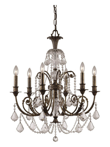 Crystorama Clear Hand Cut Crystal Wrought Iron Chandelier 6 Lights - English Bronze - 5116-EB-CL-MWP - PeazzLighting