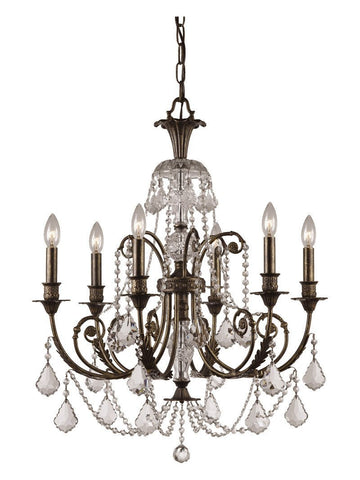 Crystorama Clear Swarovski Elements Crystal Wrought Iron Chandelier 6 Lights - English Bronze - 5116-EB-CL-S - PeazzLighting