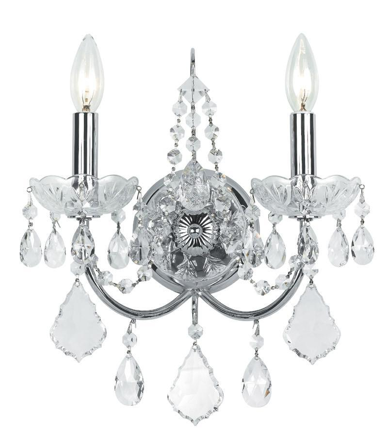 Crystorama | Swarovski | Crystal | Polish | Accent | Chrome | Sconce | Brass | Solid | Wall