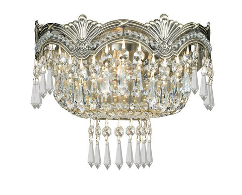 Crystorama 1480-HB-CL-S 2-Lights Sold Cast Brass Ornate Crystal Wall Sconce - Historic Brass - PeazzLighting