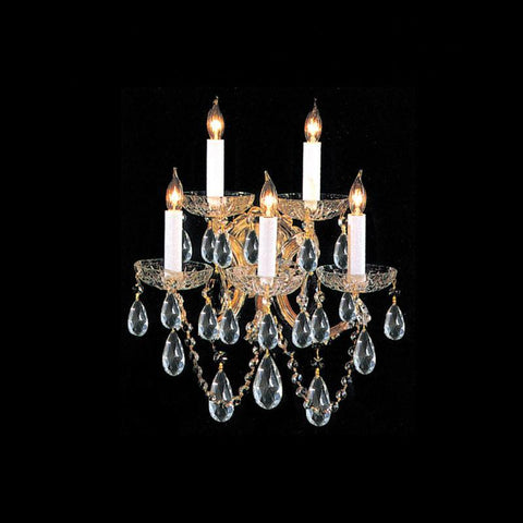 Crystorama 4404-GD-CL-MWP 5-Lights Maria Theresa Wall Sconce Draped In Hand Cut Crystal - Gold - PeazzLighting