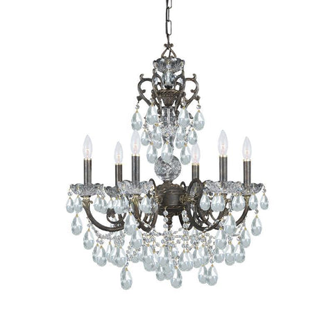 Crystorama Ornate Chandelier Accented with Hand Cut Crystal 6 Lights - English Bronze - 5196-EB-CL-MWP - PeazzLighting