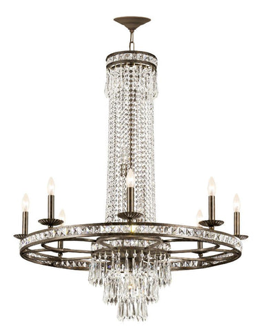 Crystorama Clear Hand Polished Crystal Wrought Iron Chandelier 8 Lights - English Bronze - 5268-EB-CL-MWP - PeazzLighting