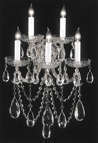 Crystorama 4425-CH-CL-SAQ 5-Lights Maria Theresa Chandelier Draped In Swarovski Spectra Crystal - Polished Chrome - PeazzLighting