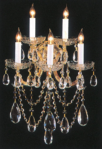 Crystorama 4425-GD-CL-SAQ 5-Lights Maria Theresa Chandelier Draped In Swarovski Spectra Crystal - Gold - PeazzLighting