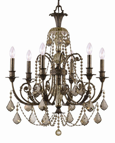 Crystorama Golden Teak Hand Polished Crystal Wrought Iron Chandelier , English Bronze Finish 6 Lights - English Bronze - 5116-EB-GT-MWP - PeazzLighting
