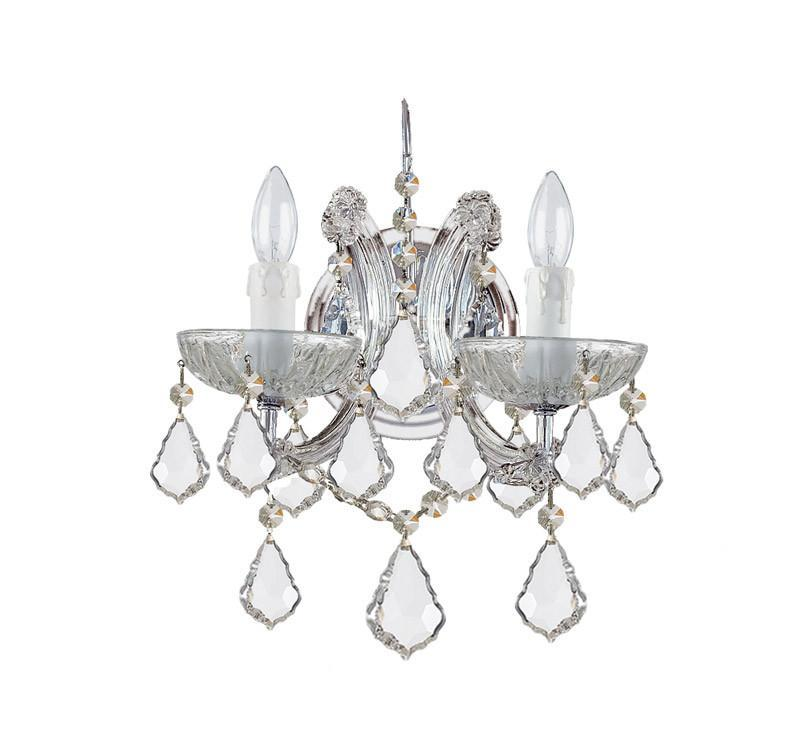 Crystorama 4472-CH-CL-S 2-Lights Maria Theresa Wall Mount Draped In Swarovski Elements Crystal - Polished Chrome