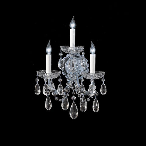 Crystorama 4403-CH-CL-S 3-Lights Maria Theresa Wall Sconce Draped In Swarovski Elements Crystal - Polished Chrome - PeazzLighting