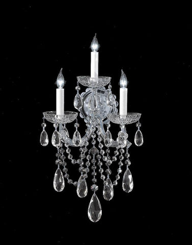 Crystorama 4423-CH-CL-S 3-Lights Maria Theresa Wall Sconce Draped In Swarovski Elements Crystal - Polished Chrome - PeazzLighting