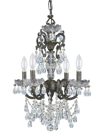 Crystorama Ornate Chandelier Accented with Swarovski Spectra Crystal 4 Lights - English Bronze - 5194-EB-CL-SAQ - PeazzLighting