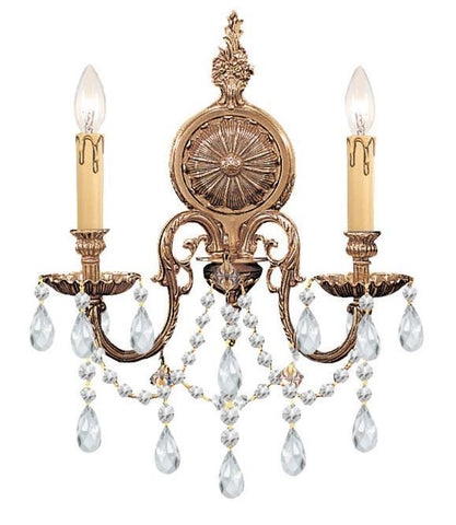 Crystorama 2702-OB-CL-S 2-Lights Ornate Cast Brass Wall Sconce Accented With Swarovski Elements Crystal - Olde Brass - PeazzLighting
