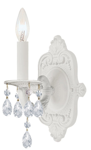 Crystorama 5021-WW-CL-MWP 1-Lights Paris Flea Market Wall Sconce, Wet White Finish, Adorned With Crystal Accents - Wet White - PeazzLighting