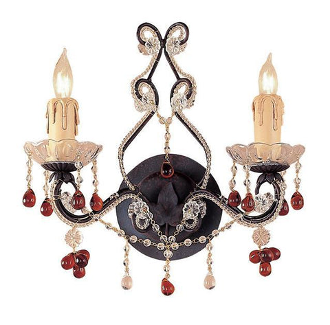 Crystorama 4522-DR 2-Lights Paris Flea Market Wall Sconce Adorned With Amber Colored Murano Crystal - Dark Rust - PeazzLighting