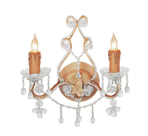Crystorama 4522-CM-CLEAR 2-Lights Paris Flea Market Wall Sconce Adorned With Rose Colored Murano Crystal - Champagne - PeazzLighting