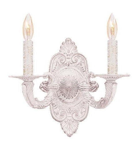 Crystorama 5122-AW 2-Lights Paris Flea Market Natural Wrought Iron Wall Sconce In Antique White - Antique White - PeazzLighting