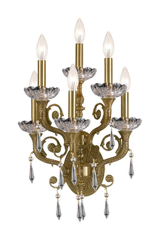 Crystorama 5176-AG-CL-SAQ 6-Lights Solid Brass Swarovski Crystal Wall Sconce - Aged Brass - PeazzLighting