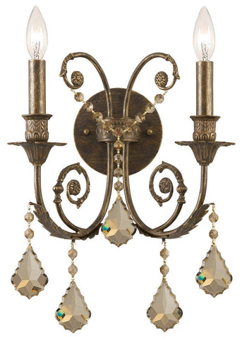 Crystorama 5112-EB-GTS 2-Lights Ornate Wall Sconce Adorned With Golden Teak Swarovski Elements Crystal, English Bronze Finish - English Bronze - PeazzLighting