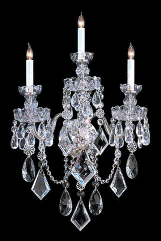 Crystorama 1043-CH-CL-MWP 3-Lights Clear Hand Cut Crystal Wall Sconce - Polished Chrome - PeazzLighting